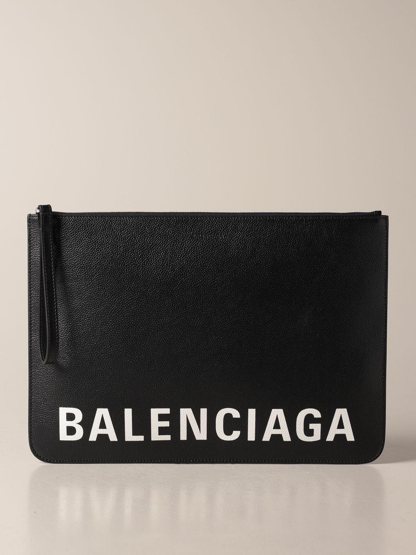 Briefcase Balenciaga: Balenciaga clutch bag in hammered leather with logo black 1