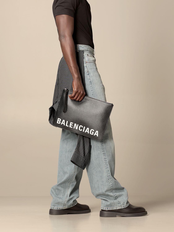Briefcase Balenciaga: Balenciaga clutch bag in hammered leather with logo black 2