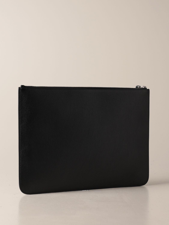 Briefcase Balenciaga: Balenciaga clutch bag in hammered leather with logo black 3