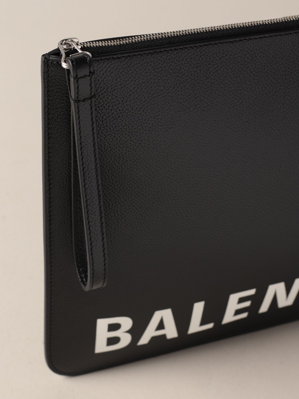 Briefcase Balenciaga: Balenciaga clutch bag in hammered leather with logo black 4