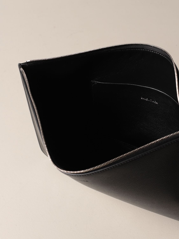 Briefcase Balenciaga: Balenciaga clutch bag in hammered leather with logo black 5