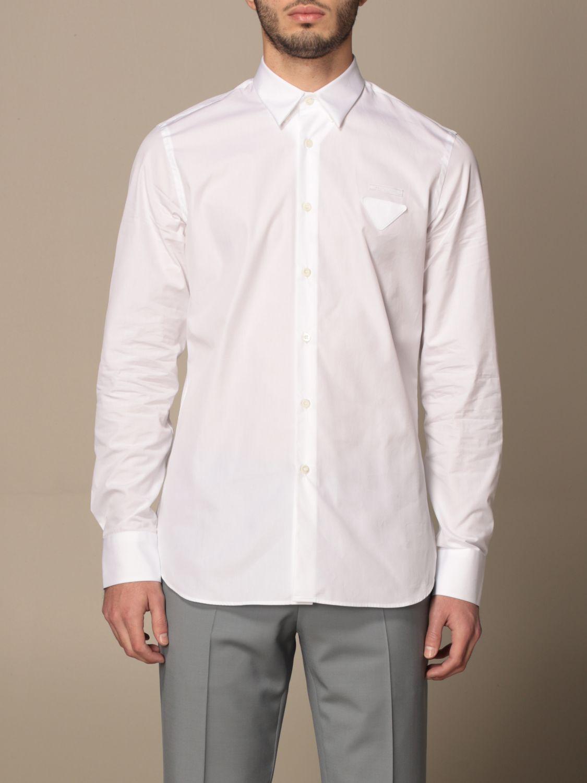 Camicia Prada: Camicia Prada in popeline di cotone con logo bianco 1