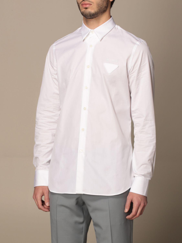 Camicia Prada: Camicia Prada in popeline di cotone con logo bianco 4