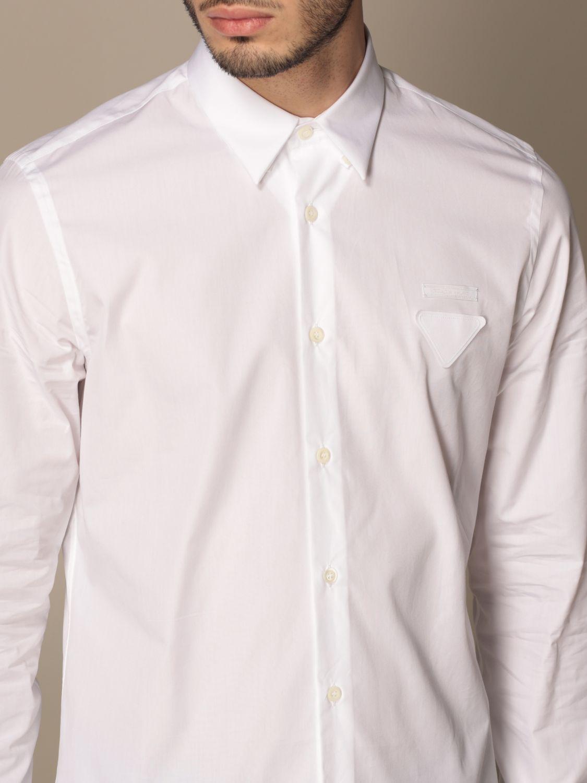 Camicia Prada: Camicia Prada in popeline di cotone con logo bianco 5