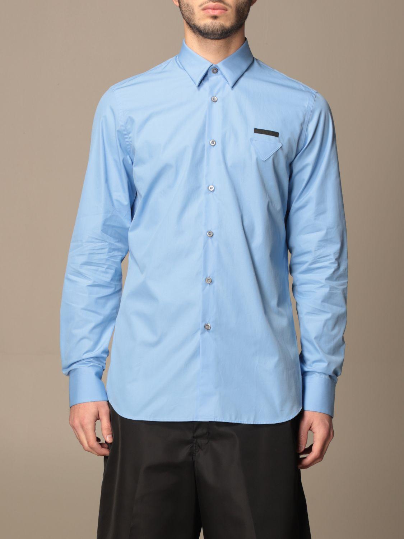 Camicia Prada: Camicia Prada in popeline di cotone con logo azzurro 1