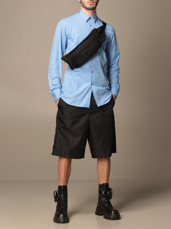 Camicia Prada: Camicia Prada in popeline di cotone con logo azzurro 2