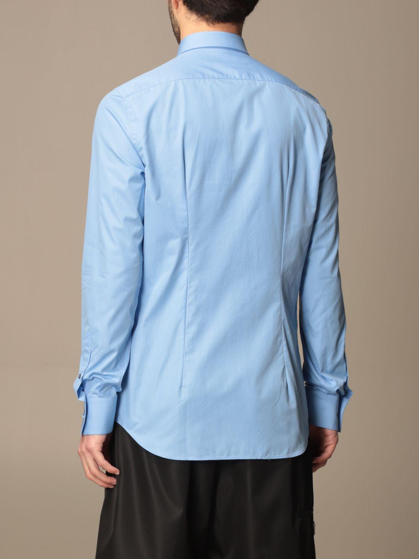 Camicia Prada: Camicia Prada in popeline di cotone con logo azzurro 3