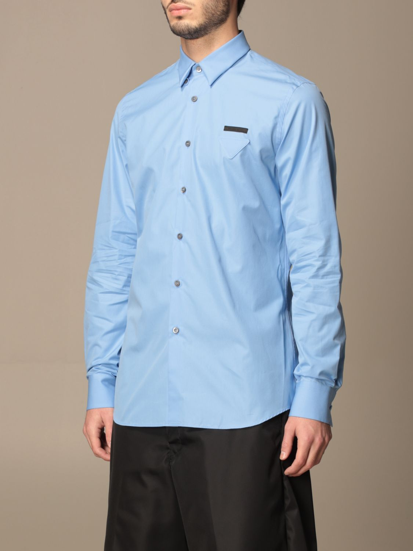 Camicia Prada: Camicia Prada in popeline di cotone con logo azzurro 4