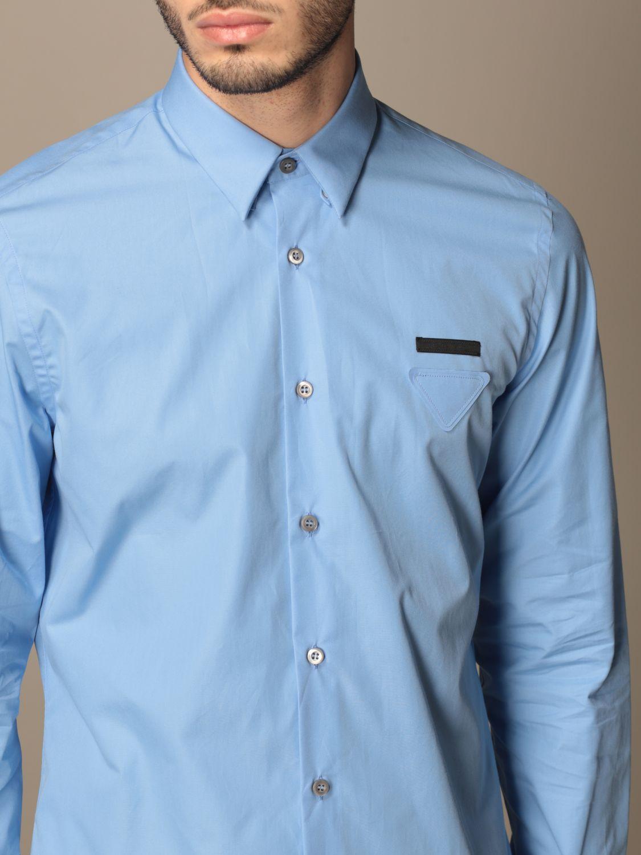 Camicia Prada: Camicia Prada in popeline di cotone con logo azzurro 5