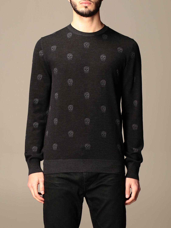 Jumper Alexander Mcqueen: Alexander McQueen crew neck sweater with skulls black 1