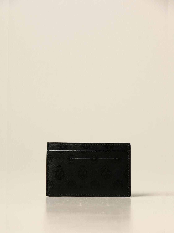 Portafoglio Alexander Mcqueen: Porta carte di credito Alexander McQueen in pelle con stampa nero 1