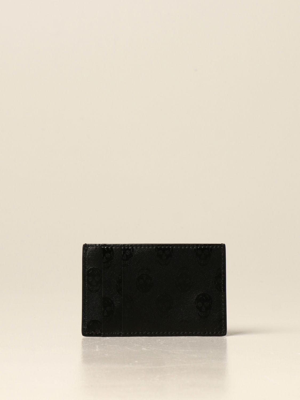 Portafoglio Alexander Mcqueen: Porta carte di credito Alexander McQueen in pelle con stampa nero 2