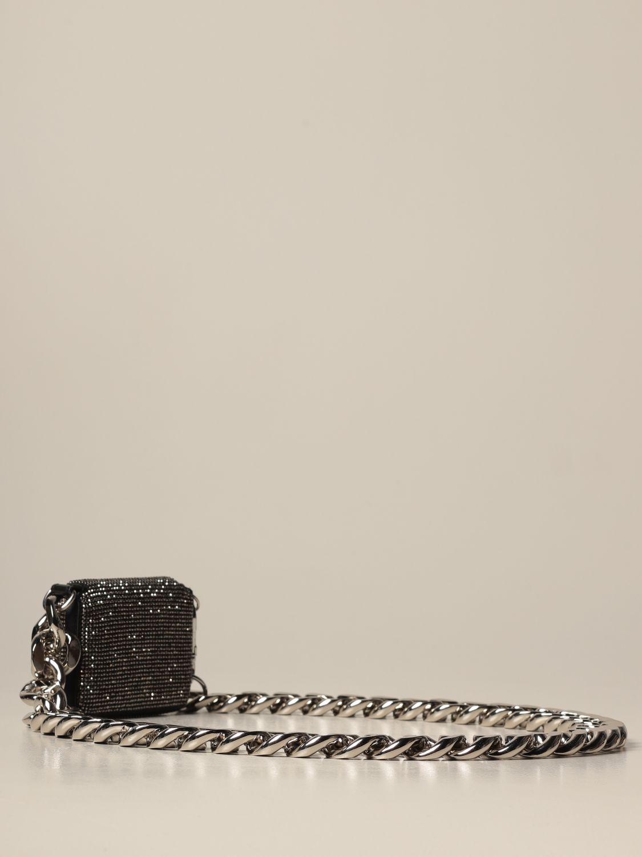 Portafoglio Kara: Portafoglio a tracolla Kara con maxi catena grigio 2