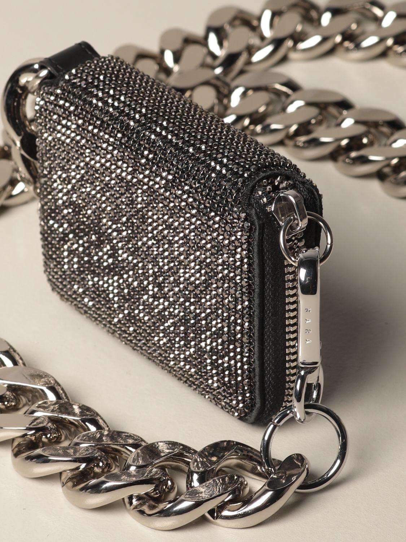 Portafoglio Kara: Portafoglio a tracolla Kara con maxi catena grigio 3