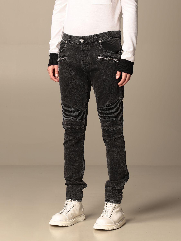 Jeans Balmain: Balmain jeans in denim with zip black 4