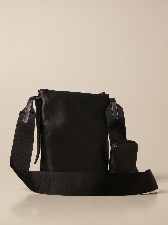 Borsa a tracolla Prada: Borsello Prada in pelle con logo triangolare nero 3