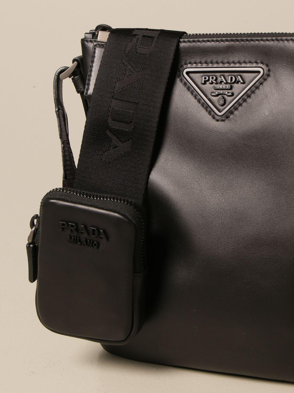 Borsa a tracolla Prada: Borsello Prada in pelle con logo triangolare nero 4