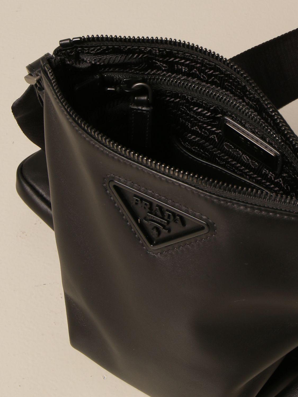 Borsa a tracolla Prada: Borsello Prada in pelle con logo triangolare nero 5
