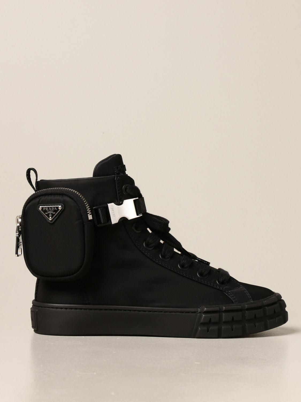 Sneakers Prada: Sneakers a polacco Prada in gabardine Re-Nylon nero 1