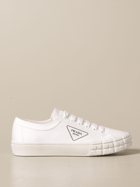 Sneakers Prada: Sneakers Prada in tela con logo triangolare bianco 1