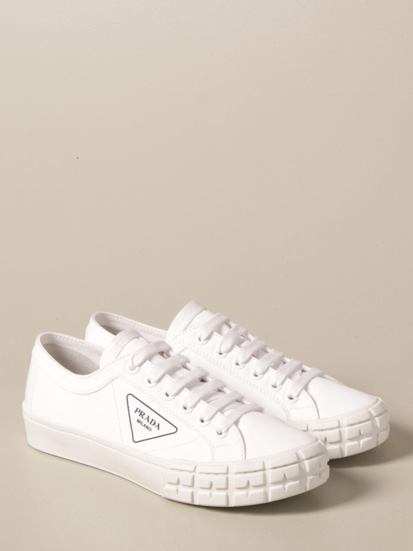 Sneakers Prada: Sneakers Prada in tela con logo triangolare bianco 2