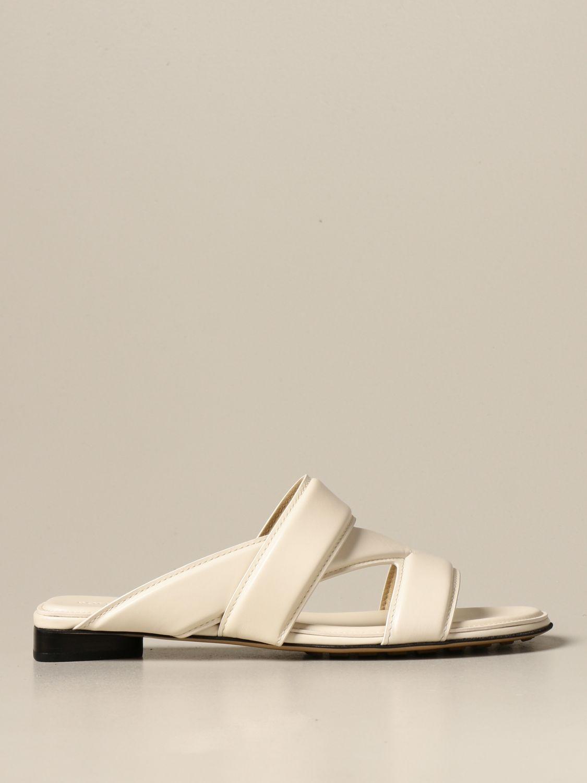 Босоножки без каблука Bottega Veneta: Босоножки на каблуке Женское Bottega Veneta белый 1