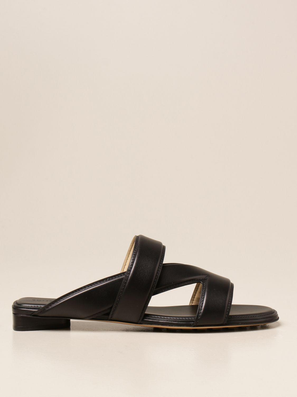 Босоножки без каблука Bottega Veneta: Босоножки на каблуке Женское Bottega Veneta черный 1