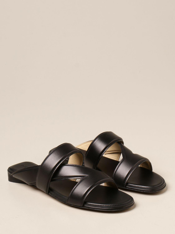 Босоножки без каблука Bottega Veneta: Босоножки на каблуке Женское Bottega Veneta черный 2