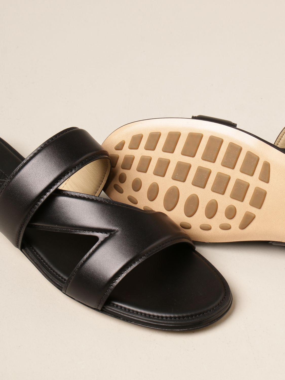 Босоножки без каблука Bottega Veneta: Босоножки на каблуке Женское Bottega Veneta черный 4