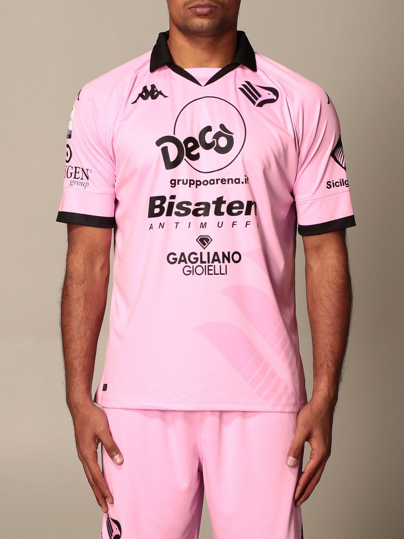 T-shirt Palermo: Maglia kombat Palermo con sponsor e patch lega serie c in tessuto interlock rosa 1