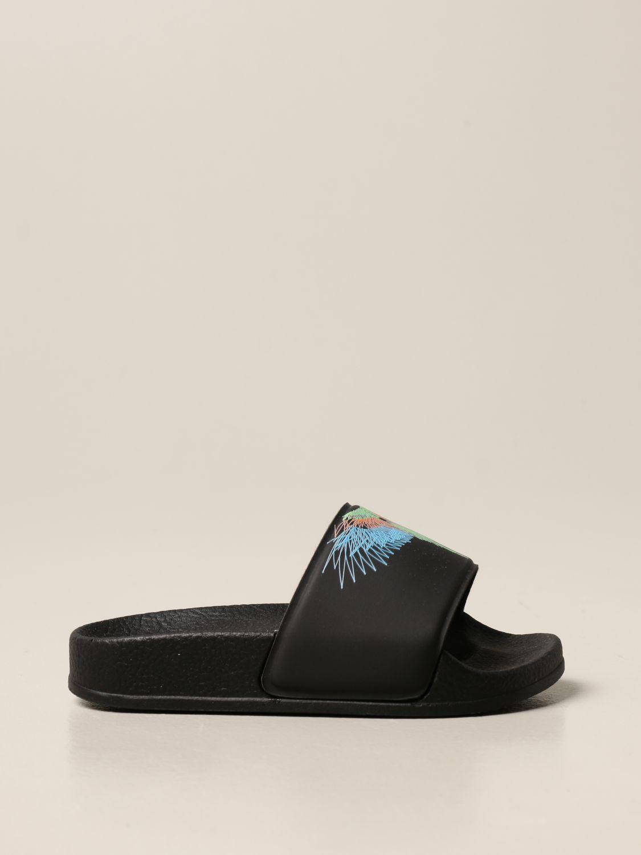 Shoes Marcelo Burlon: Marcelo Burlon rubber sandal with bird feathers black 1
