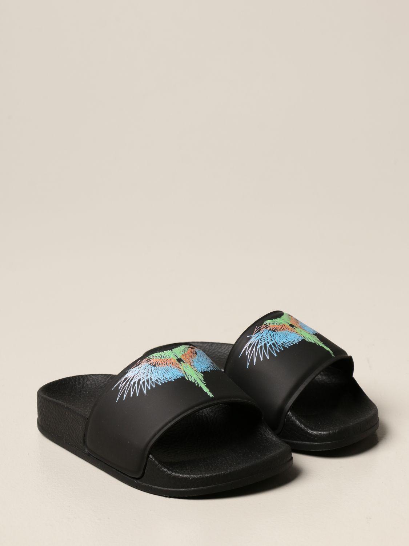 Shoes Marcelo Burlon: Marcelo Burlon rubber sandal with bird feathers black 2