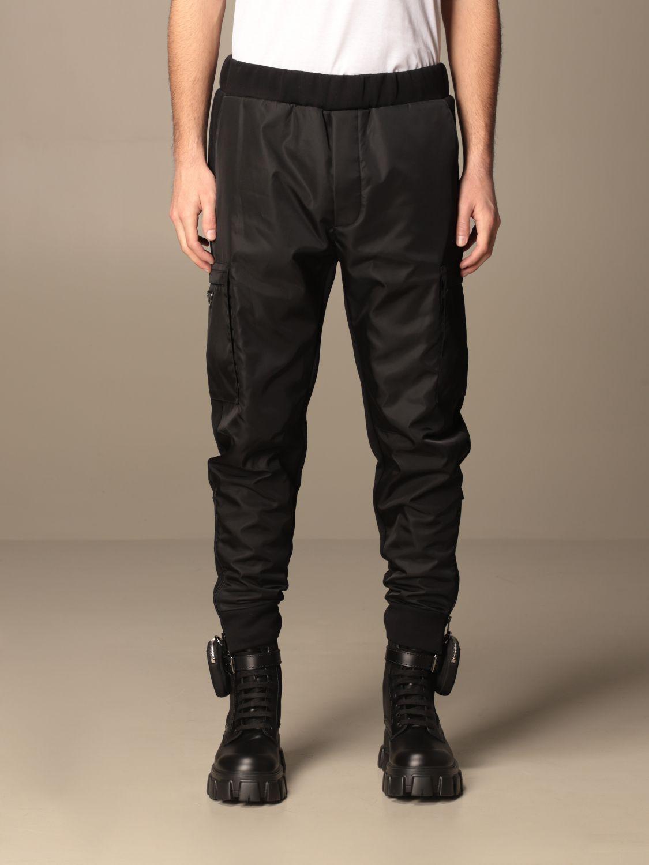 Pantalone Prada: Pantalone jogging Prada in gabardine di nylon e cotone nero 1