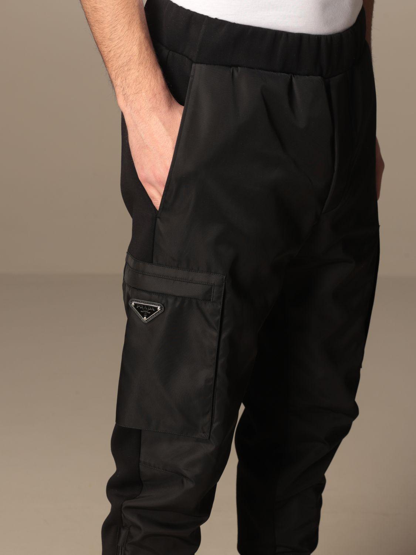 Pantalone Prada: Pantalone jogging Prada in gabardine di nylon e cotone nero 4