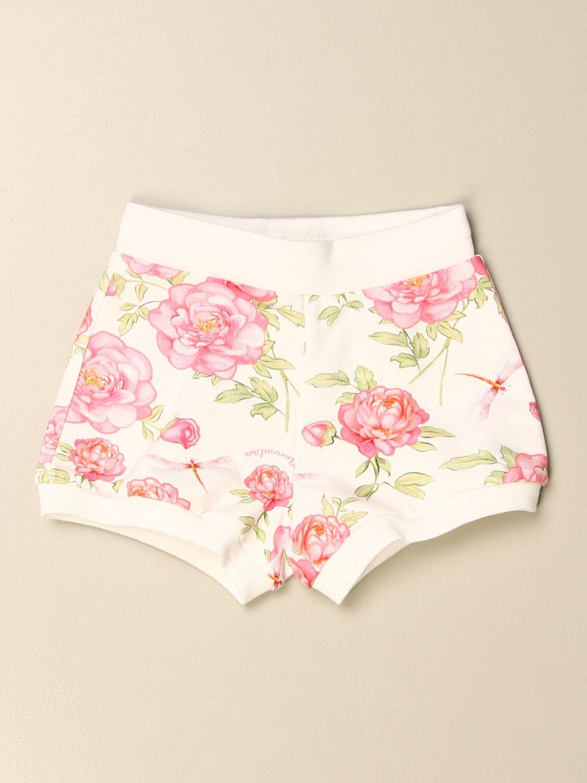 Pantaloncini Monnalisa: Pantaloncino Monnalisa in cotone a fantasia floreale panna 1