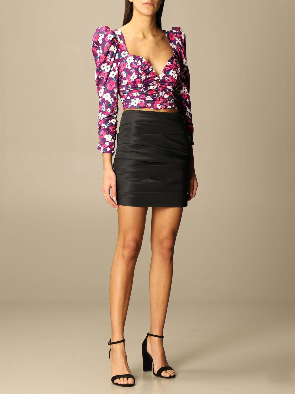 Top e Bluse For Love & Lemons: Camicia cropped For Love & Lemons a fantasia floreale fuxia 2