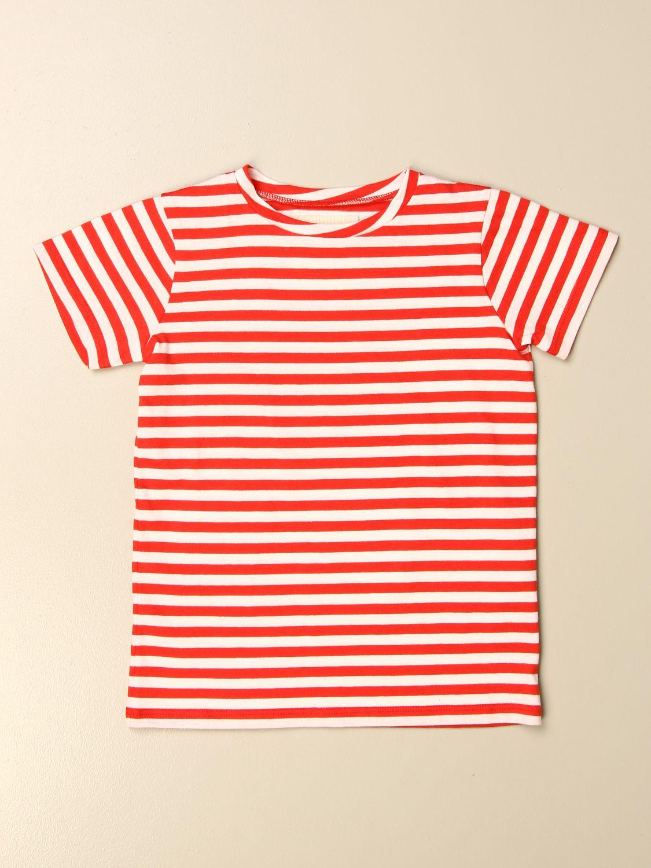 T-shirt Douuod: T-shirt Douuod a righe rosso 1