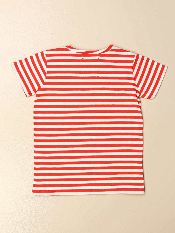T-shirt Douuod: T-shirt Douuod a righe rosso 2
