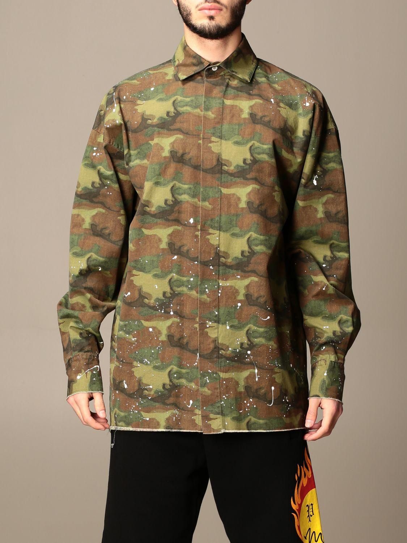 Camicia Palm Angels: Camicia Palm Angels camouflage con logo militare 1