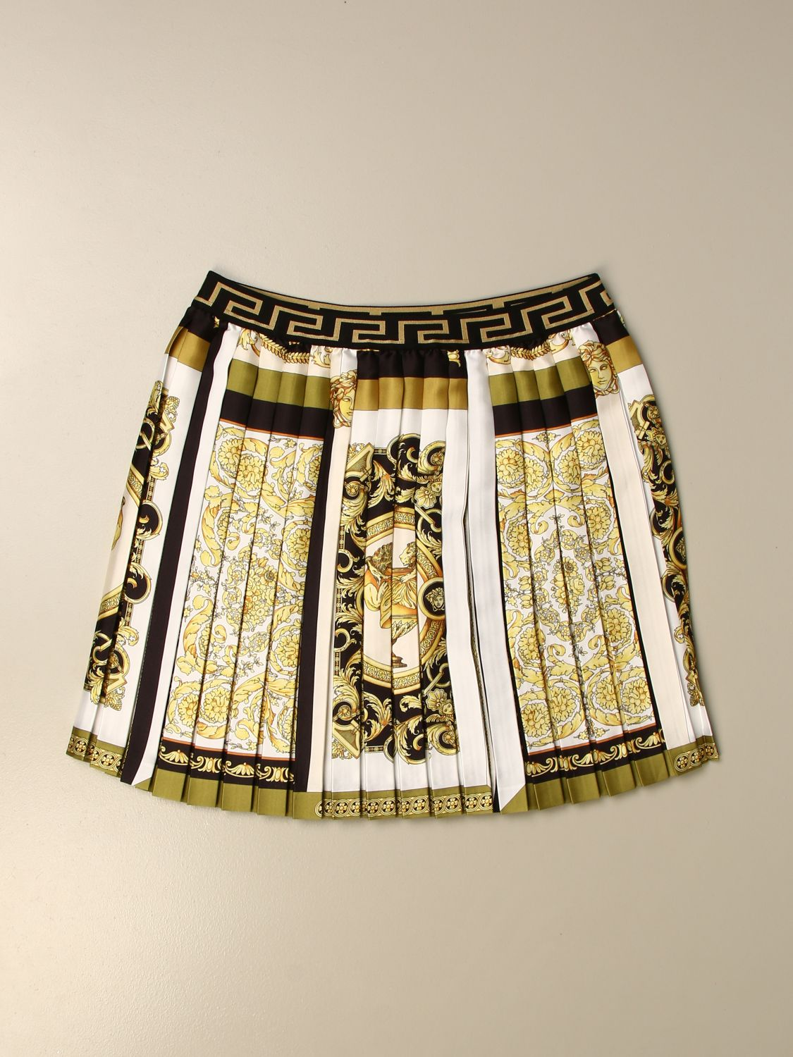 Skirt Young Versace: Versace Young short pleated skirt with baroque pattern white 1