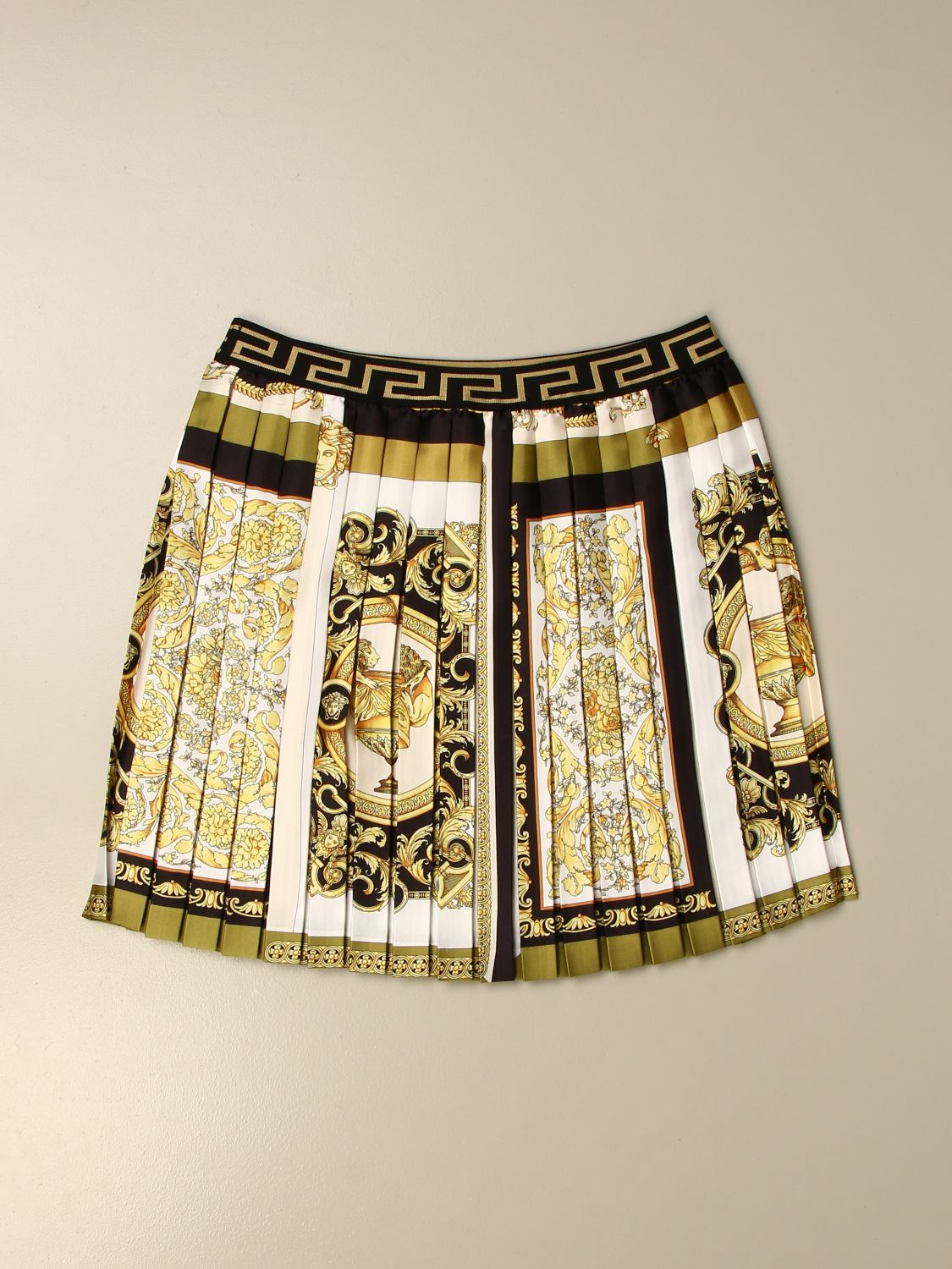 Skirt Young Versace: Versace Young short pleated skirt with baroque pattern white 2