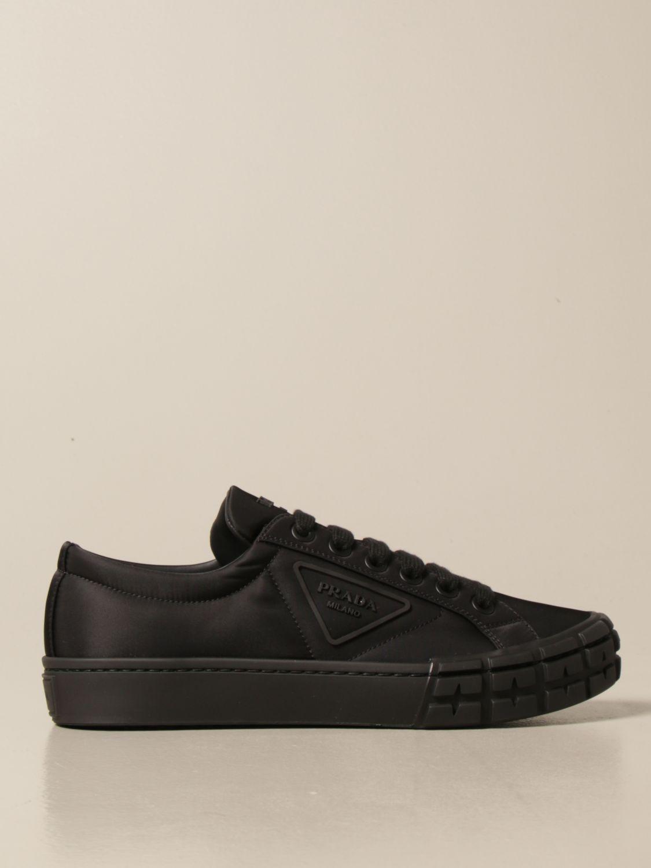Sneakers Prada: Sneakers Prada in gabardine re-nylon con logo triangolare nero 1