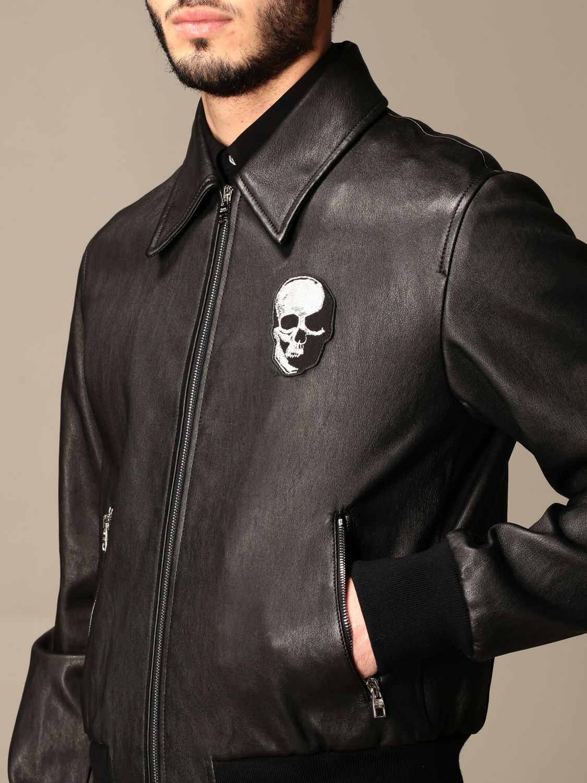 Giacca Alexander Mcqueen: Bomber di pelle Alexander McQueen con zip nero 5