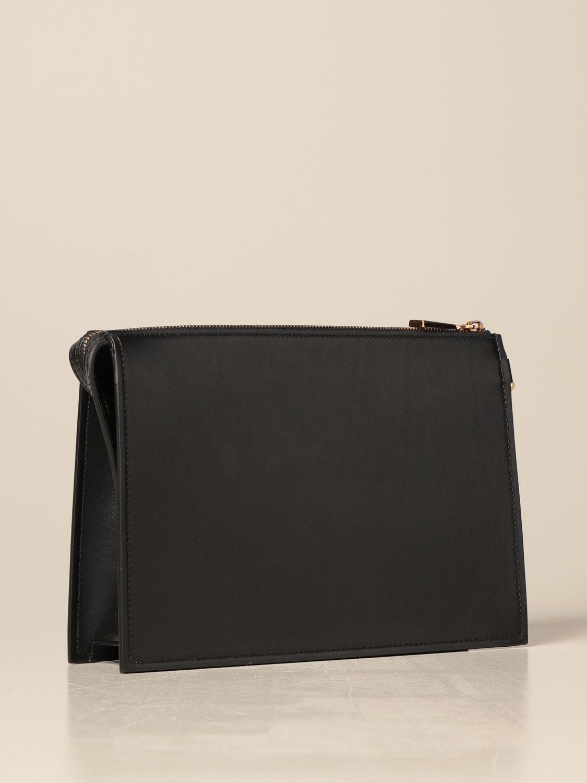 Portadocumenti Versace: Clucth Versace in pelle liscia con medusa nero 3