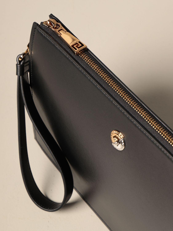 Portadocumenti Versace: Clucth Versace in pelle liscia con medusa nero 4