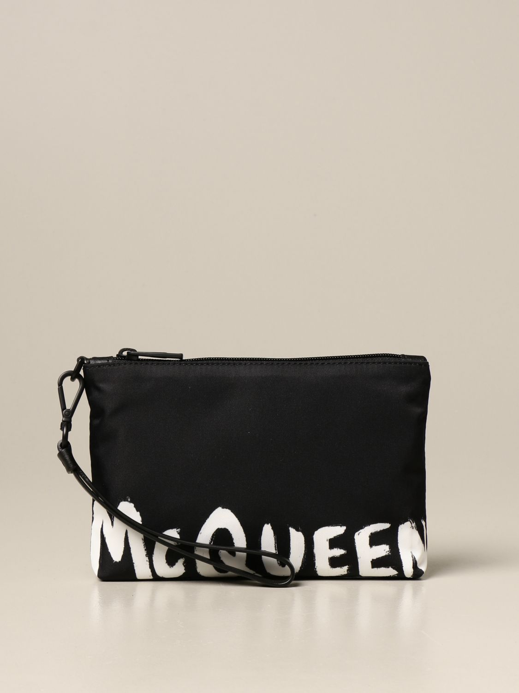 Portadocumenti Alexander Mcqueen: Pochette da polso Alexander McQueen in tela con banda logata nero 1