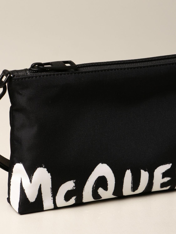 Portadocumenti Alexander Mcqueen: Pochette da polso Alexander McQueen in tela con banda logata nero 3