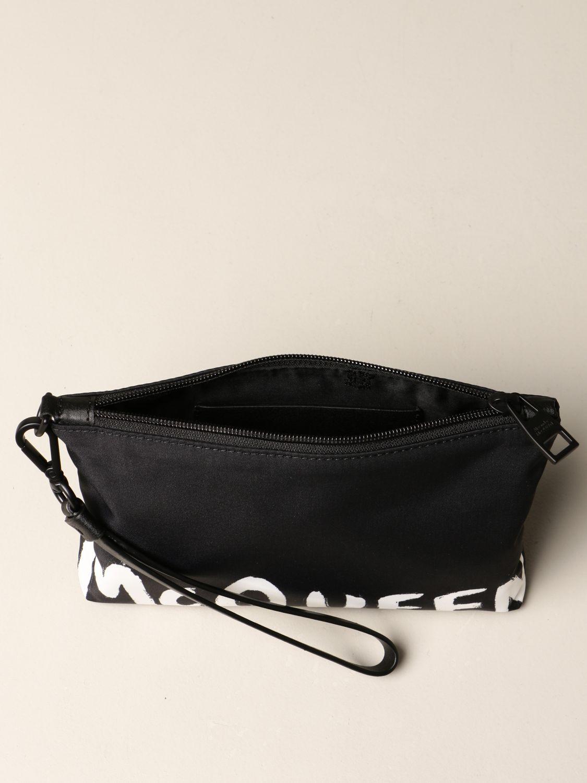 Portadocumenti Alexander Mcqueen: Pochette da polso Alexander McQueen in tela con banda logata nero 4