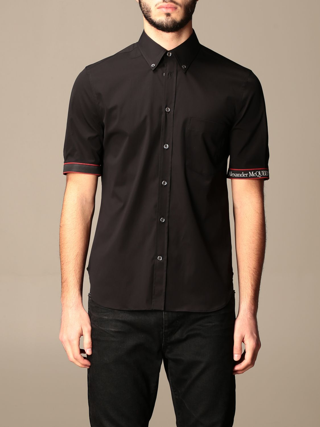 Shirt Alexander Mcqueen: Alexander McQueen shirt with logoed bands black 1
