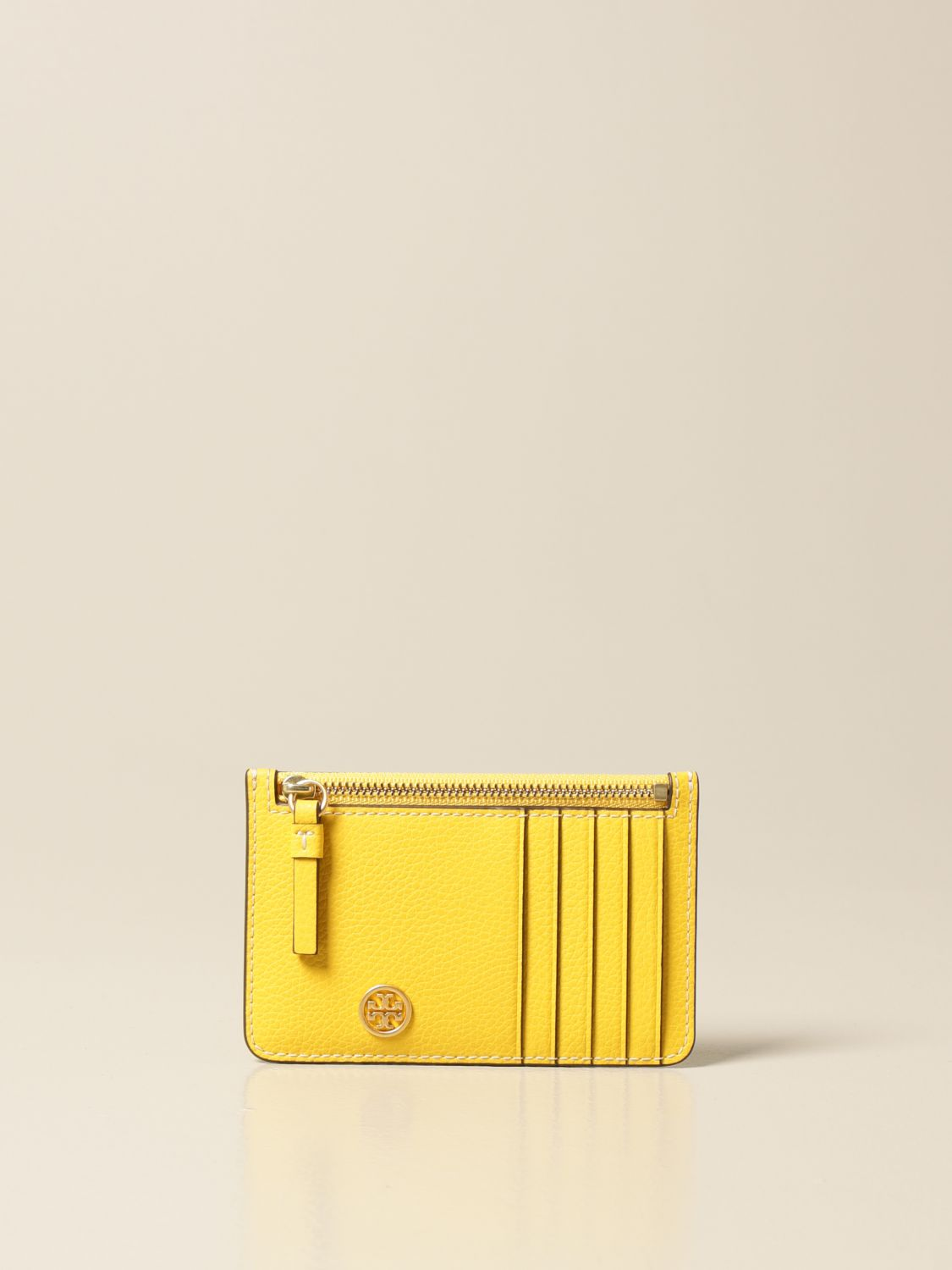 Wallet Tory Burch: Tory Burch credit card holder in hammered leather with logo and zip yellow 1